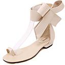 baratos Oxfords Femininos-Mulheres Sapatos Couro Ecológico Verão Conforto Rasos Sem Salto Preto / Vermelho / Amêndoa