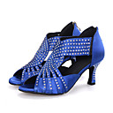 cheap Women's Heels-Women's Latin Shoes Elastic Fabric Sandal / Heel Rhinestone / Sparkling Glitter / Zipper Flared Heel Customizable Dance Shoes Black / Red / Blue / Performance / Leather / Professional