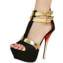 baratos Sandálias Femininas-Mulheres Sapatos Tecido Verão Sandálias Salto Agulha Presilha Preto / Vermelho / Azul