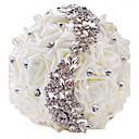 "baratos Bouquets de Noiva-Bouquets de Noiva Buquês Casamento Festa / Noite Strass Poliéster Cetim 11.02""(Aprox.28cm)"