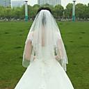 billige Bryllupsslør-To-lags Perlebesat Kant Bryllupsslør Fingerspids Slør Med Krøllede Folder Tyl