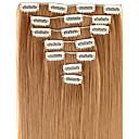 billige Syntetisk hairextension-Hairextensions med menneskehår Rett Klassisk Hairextensions med menneskehår Syntetisk hår Dame - # 627 F1B-30 Burgunder
