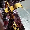 저렴한 인모 헤어 연장 제품-아트 데코/레트로 와이드 스프레드 폭포 / 와이드를 분무 with  브라스 발브 두 핸들 세 개의 구멍 for  티 - PVD , 욕실 싱크 수도꼭지