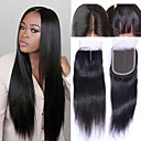 cheap Human Hair Wigs-Brazilian Hair 4x4 Closure Straight / Classic Free Part / Middle Part / 3 Part Swiss Lace Human Hair Daily