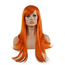 cheap Costume Wigs-cosplay wig orange long straight wavy synthetic wig hot sale Halloween
