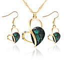 cheap Jewelry Sets-Women's Crystal Jewelry Set - Crystal, Rhinestone Heart Ladies, Elegant, Bridal Include Drop Earrings Pendant Necklace Purple / Green / Blue For Wedding Party Daily Casual