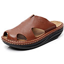お買い得  メンズスリッパ&ビーチサンダル-男性用 靴 レザー 夏 コンフォートシューズ サンダル ブラック / Brown