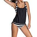 cheap Wetsuits, Diving Suits & Rash Guard Shirts-Women's Sporty Look Plus Size Sports Strap Dark Blue Gray Blue Cheeky One-piece Swimwear - Striped Cut Out XL XXL XXXL / Sexy