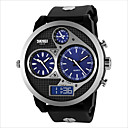 baratos Relógios Digitais-Homens Relógio Esportivo / Relógio de Pulso Impermeável / Três Fusos Horários Couro Banda Amuleto Preta / SODA AG4