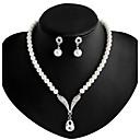 ieftine Pilotă florale-Pentru femei Perle Lung Set bijuterii - Imitație de Perle, Ștras, Argilă Include Colier / cercei Alb Pentru Nuntă Petrecere Zilnic / Σκουλαρίκια / Coliere