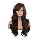 cheap Synthetic Capless Wigs-top quality ombre black brown color wig long size wavy curly hair synthetic wig