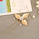 cheap Party Headpieces-Brass Imitation Pearl Rhinestone Alloy Hair Pin Headpiece Elegant Style