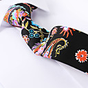 billige Tilbehør til herrer-svart paisley tynne slips bomull