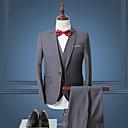 Χαμηλού Κόστους Φορέματα δεξίωσης γάμου-Ανδρικά Δουλειά Απλός Άνοιξη / Φθινόπωρο Κανονικό Στολές, Μονόχρωμο Μακρυμάνικο Πολυεστέρας Σκούρο μπλε / Γκρίζο / Κρασί 4XL / XXXXXL / XXXXXXL