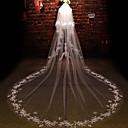 preiswerte Pendelleuchten-Zweischichtig Schnittkante Hochzeitsschleier Kathedralen Schleier mit Strass / Applikationen / Verstreute Perlen mit Blumen Spitze / Tüll / Oval