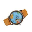 hesapli Moda Saatler-Erkek Quartz Japon Kuvartz Elbise Saat Dünya Haritası Desen Gündelik Saatler Deri Bant İhtişam Siyah Beyaz Kahverengi Çok-Renkli