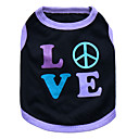 cheap Dog Clothes-Cat Dog Shirt / T-Shirt Dog Clothes Heart Black and Purple Pink Cotton Costume For Pets Men's Women's Fashion