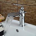 cheap Pendant Lights-Contemporary Art Deco/Retro Modern Centerset Waterfall Ceramic Valve Single Handle One Hole Chrome, Bathroom Sink Faucet