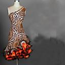 abordables Ropa para Baile Latino-Baile Latino Vestidos Mujer Rendimiento Licra / Gasa Satén Volantes Sin Mangas Cintura Alta Vestido / Danza Latina