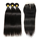 cheap One Pack Hair-3 bundles brazilian hair straight human hair weave with 4 x4 closure 100 real remy hair extensions