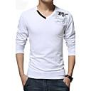 baratos Drivers de LED-Masculino Camiseta Algodão / Elastano Estampado Manga Comprida Casual / Tamanhos Grandes-Preto / Azul / Branco