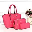 cheap Bag Sets-Women's Bags PU Bag Set 3 Pcs Purse Set Black / Blushing Pink / Fuchsia / Bag Sets