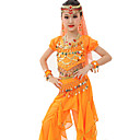 cheap Kids' Dancewear-Belly Dance Outfits Performance Polyester / Chiffon Satin Gold Coin / Ruched Short Sleeves Natural Top / Pants / Belt