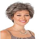 halpa LED-lamput-Synteettiset peruukit Kihara Synteettiset hiukset Harmaa Peruukki Naisten Lyhyt Suojuksettomat
