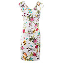 cheap Bag Sets-Women's Club Street chic Slim Bodycon Dress - Floral Split V Neck