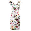 baratos Bolsas Tote-Mulheres Bandagem Moda de Rua Delgado Tubinho Vestido - Fenda, Floral Decote V Altura dos Joelhos