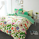 cheap Floral Duvet Covers-Duvet Cover Sets Floral 4 Piece Cotton Reactive Print Cotton 1pc Duvet Cover 2pcs Shams 1pc Flat Sheet