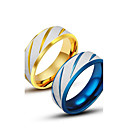cheap Men's Rings-Men's Band Ring - Titanium Steel Unique Design, Fashion 7 / 8 / 9 / 10 / 11 Gold / Blue For Casual