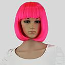 お買い得  コスチュームウィッグ-人工毛ウィッグ / コスチュームウィッグ ストレート ボブスタイル・ヘアカット 合成 ピンク かつら 女性用 キャップレス