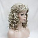 cheap Human Hair Capless Wigs-Synthetic Wig Curly Blonde With Bangs Blonde Synthetic Hair Women's Blonde Wig Medium Length Capless Hivision