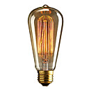 cheap Incandescent Bulbs-1pc 40W E27 E26 / E27 E26 ST64 Warm White 2300k Incandescent Vintage Edison Light Bulb 110-220V 220-240V