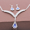 cheap Jewelry Sets-Women's Crystal Jewelry Set - Fashion Include Necklace / Earrings Silver / Blue For Wedding / Party