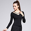 cheap Ice Skating Dresses , Pants & Jackets-Latin Dance Tops Women's Training Modal / Tulle Criss-Cross Long Sleeve Natural Top