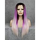billige Lokkløs-Syntetisk blonder foran parykker Rett Syntetisk hår Ombre-hår / Naturlig hårlinje Parykk Dame Blonde Forside Blond