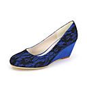 baratos Sapatos de Noiva-Feminino-Saltos-Anabela / Arrendondado-Anabela-Preto / Azul / Rosa / Marfim / Branco-Seda-Casamento / Festas & Noite