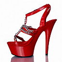cheap Women's Sandals-Women's Shoes Patent Leather Customized Materials Summer Fall Club Shoes Light Up Shoes Sandals Stiletto Heel Platform Buckle for Casual