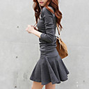 cheap Synthetic Lace Wigs-Women's Daily Weekend Street chic Skater Mini Dress,Solid Round Neck Long Sleeves Low Rise