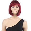 cheap Human Hair Wigs-Synthetic Wig Straight Bob Haircut / With Bangs Synthetic Hair Red Wig Women's Short Capless
