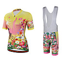 cheap Cycling Jersey & Shorts / Pants Sets-Miloto Women's Short Sleeve Cycling Jersey with Bib Shorts - Yellow Plus Size Bike Bib Shorts / Jersey / Bib Tights, Breathable, Quick Dry, Sweat-wicking Polyester, Lycra Floral / Botanical