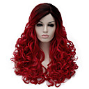 cheap Men's Rings-Synthetic Wig Wavy Synthetic Hair Dark Roots / Side Part Red Wig Women's Medium Length Capless