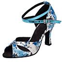זול נעליים לטיניות-בגדי ריקוד נשים נעליים לטיניות / נעלי סלסה סטן סנדלים / עקבים אבזם / פרח עקב מותאם מותאם אישית נעלי ריקוד כחול / בבית / אימון