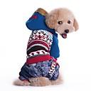 billige Pet juledragter-Kat Hund Frakker Hættetrøjer Hundetøj Farveblok Blå Lys pink Bomuld Kostume For kæledyr Herre Dame Cowboy Vindtæt Mode