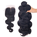 cheap One Pack Hair-4pcs lot brazilian virgin hair body wave hair weft with 1pcs lace closure free middle three part raw human hair weaves