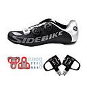 baratos Sapatos de Ciclismo-SIDEBIKE Adulto Sapatilhas de Ciclismo com Travas & Pedal / Tênis para Ciclismo Fibra de Carbono Almofadado Ciclismo Preto Homens