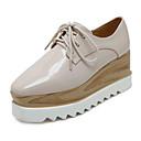 رخيصةأون أحذية نسائية-للمرأة أحذية جلد ربيع / خريف مريح كعوب المشي منصة دانتيل أسود / اللوز