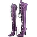 abordables Botas de Mujer-Mujer Zapatos Cuero Patentado Otoño Invierno Botas de Moto Botas de Moda Botas Tacón Stiletto Con Cordón para Fiesta y Noche Negro Morado